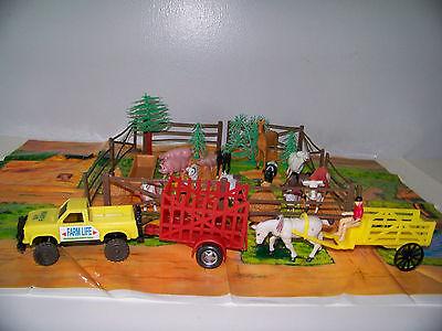 Farm Toy Animals Truck Trailers Fences & Play Mat Plastic Play Set 36 Piece Lot (Plastic Farm Animals)