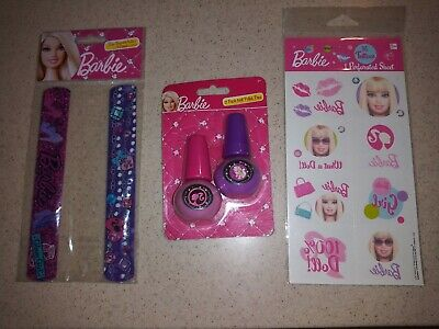 New Barbie All Dolled Up Party Favors -Slap Bracelets, Nail Polish Pens, Tattoos - Barbie Party Favors
