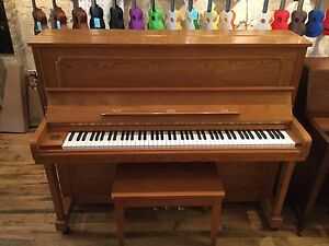 Full size Upright Piano. Oak, free delivery! Back to Lessons Sal