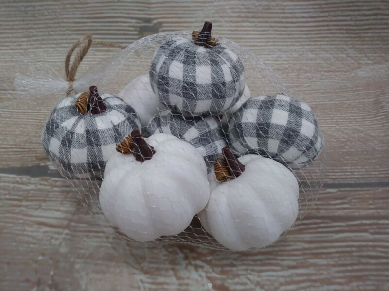 New Set of 8 Fall GRAY Buffalo Plaid Check Pumpkins Tabletop Decor Vase Filler