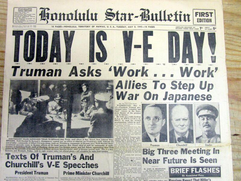 <1945 WW II headline display newspaper V-E DAY Nazi Germany Surrenders 2 Allies