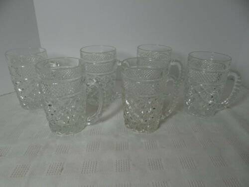 Anchor Hocking Wexford Mug with Handle Set of 6 Pressed Pattern Glass