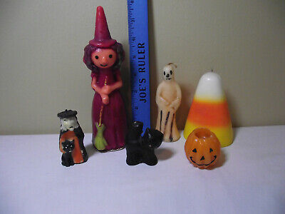 LOT OF 6 VINTAGE Halloween Spooky CANDLES GURLEY?