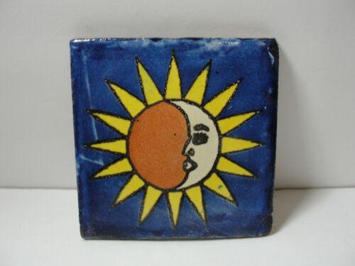 "VTG glazed Mexico ceramic tile Celestial Sun & Moon 4"" x 4"" border wall rare"
