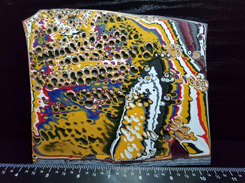 138g Genuine Fordite Jewelry Grade Rare Rough Motor City Agate Blanks & Cabbing