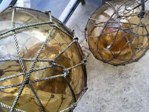 """Blown Glass Buoy -  One XXL Amber 14"""" diameter"""
