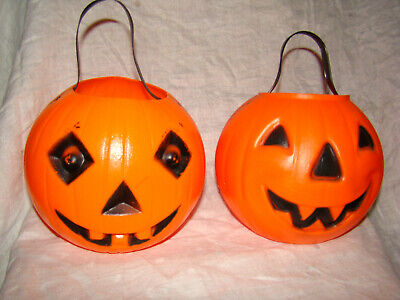Halloween Treat Containers (Vtg HALLOWEEN JACK-O-LANTERN PUMPKIN Candy Container Trick-or-Treat Lot of)