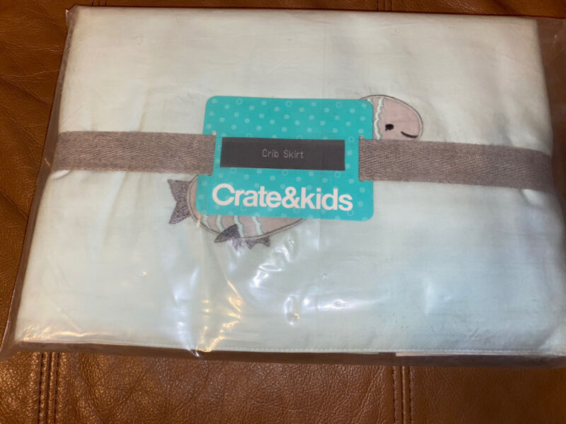 Crate & Kids and Barrel Under the Sea Baby Crib Skirt Nursery Blue Fish NEW ~