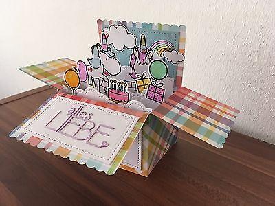 3D Pop Up Grußkarte zum Geburtstag, handg., gefaltet 15x11 Cm, Einhorn, Unicorn