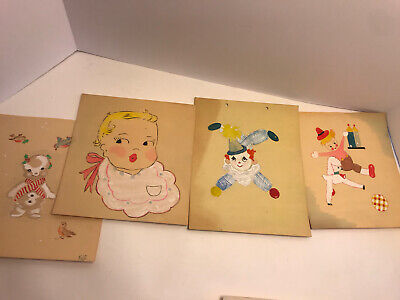 Vintage Lot Of Original Artwork Clown Baby Teddy Bear Serial Killer Ha Amazing!!
