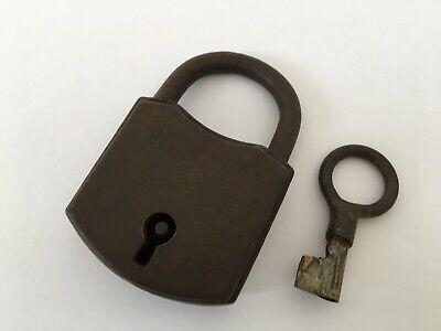 Old Vintage Iron Padlock Lock Key Nice Decorative Shape Rear Shape Collectible