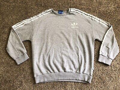 Adidas Crewneck Sweater Three Stripes Gray Men's Size M