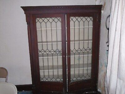 - Antique leaded glass oak built-in bookcase shelf architectural salvage