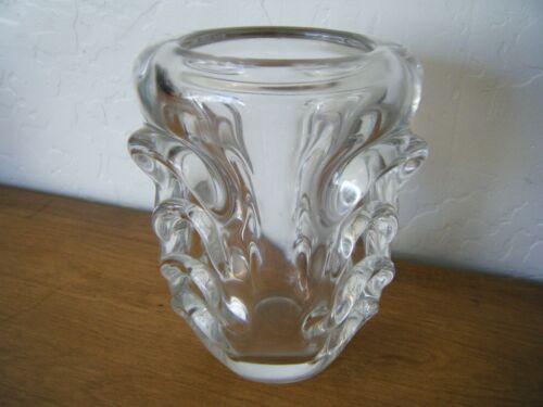 "Antique Vase "" Val St Lambert "" Crystal Signed Heavy Glass Vase"