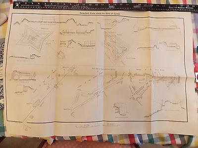 ORIGINAL 1867 Lyons France Gverre War Fort Plans Map