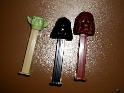 Lot of 3  STAR WARS PEZ DISPENSERS Yoda, Chewbacca & Darth Vader