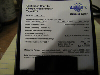 Bruel Kjaer 4374 Charge Accelerometer With Cables