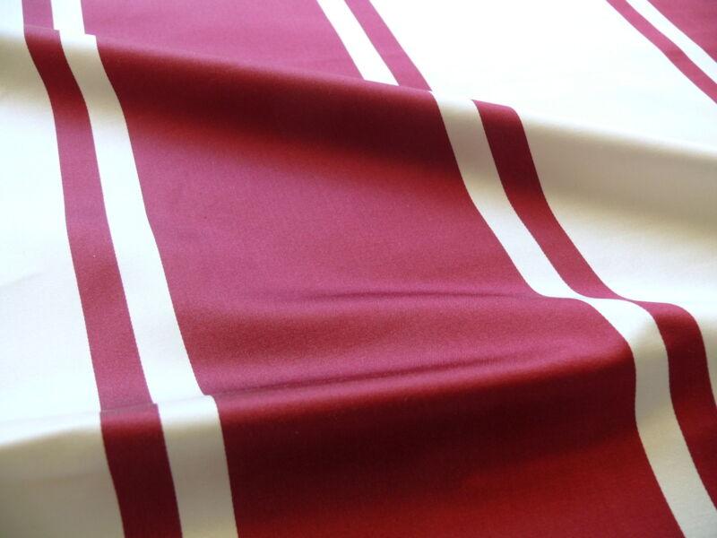 10Y SCALAMANDRE PALLADIO SILK/COTTON SATIN LRG STRIPE DEEP RASPBERRY RED & WHITE
