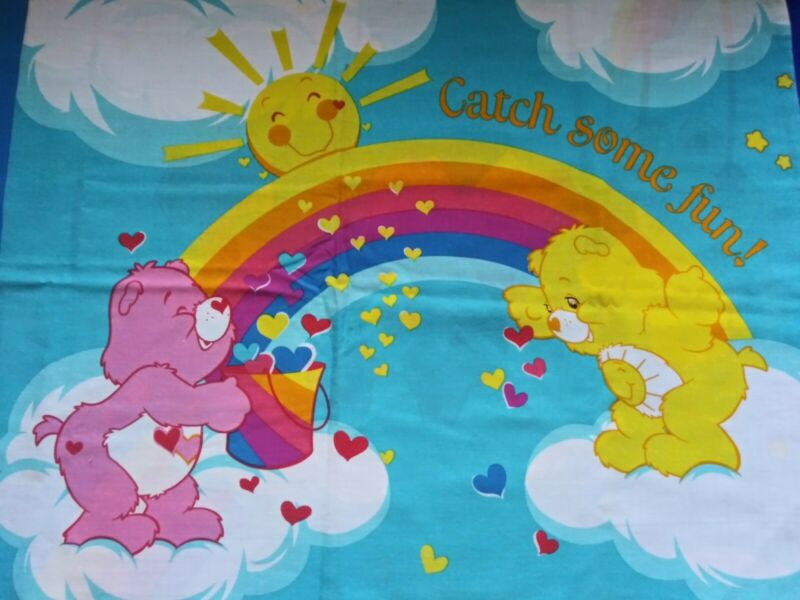 Vintage Pillowcase Care Bears Rainbow Clouds