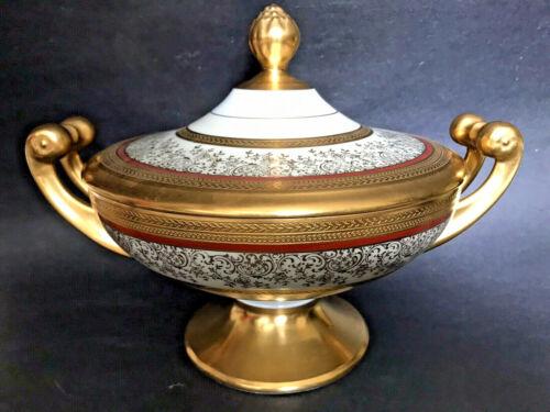 Antique Hutschenreuther Raise Encrust Gold Empire Tazza Foot Pedestal Tureen Urn
