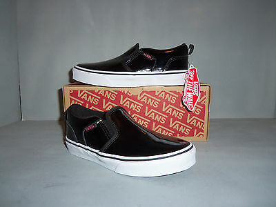 Vans Asher Slip-On Skate Shoes - Girls  NIB! Sizes! Patent Leather Black - Vans Slip Ons Girls