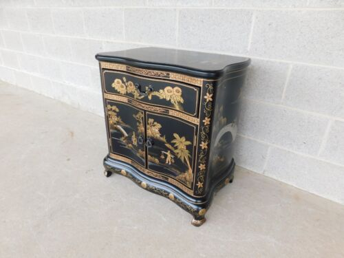 Chinese Chippendale Style Black Lacquer Chinoiserie Decorated Nightstand Chest