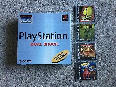 Sony Playstation 1 Console Dual Shock System Bundle - Complete in Box + 4 Games