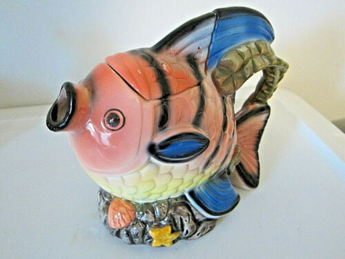 """Fish shape teapot  with lid colorful 6.25"""" tall"""