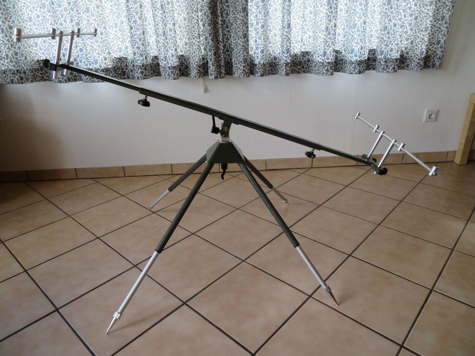 Behr Alu Rod Pod mit Rutenablage für vier Angelruten 4-Bein Rutenständer Neu !
