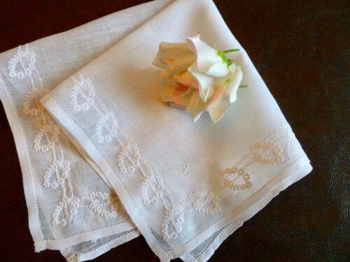 Antique Bridal Wedding Hand Made Whitework Embroidery Monogram L Hanky