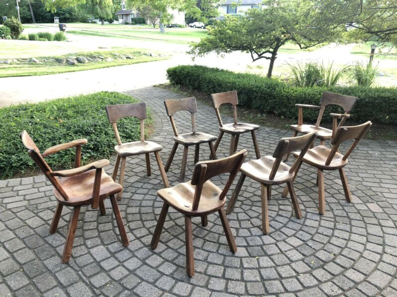 Set Of 8 Modern Colonial Design Dining Chairs Cushman