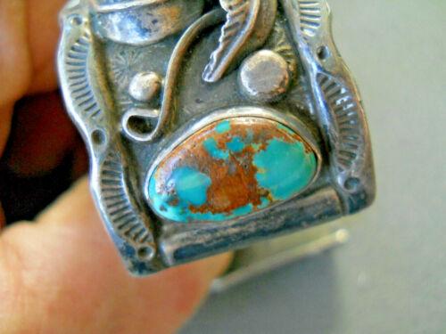 Southwestern Native American Turquoise Sterling Silver Cuff Watch Bracelet JR?
