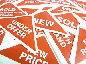 Property-Sales-adesivi-Piccolo-Rosso-triangoli-IMMOBILIARE-amp-LOCAZIONE-agenti