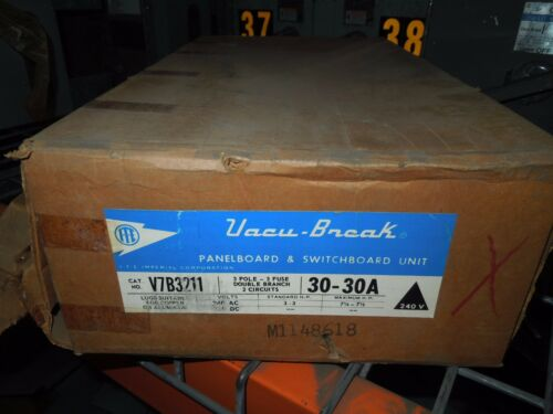 Ite Vacu-break V7b3211 30a 3p 240v Twin Fusible Switch Rounded Metal Handle New