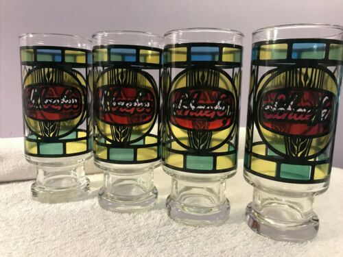 Vintage Beer Glasses set of 4 Stained Glass look Schaefer OH3369