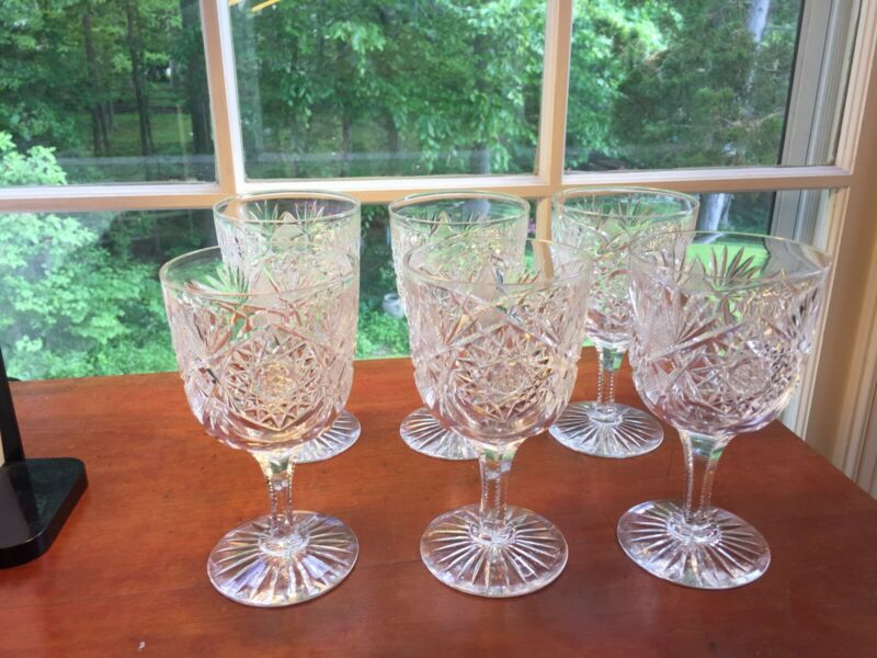 6 Antique Elmira Glass  #23 American Brilliant Cut Glass large water goblets