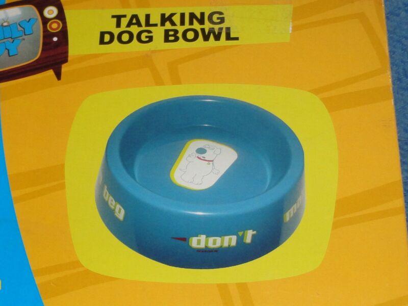 NIB Family Guy Talking Dog Food Bowl Brian Talks To your Dog Gag Gift