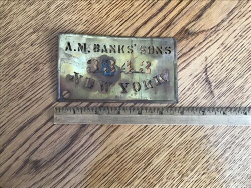 ANTIQUE BRASS WOODEN BOX STENCIL A.M. BANKS 3343