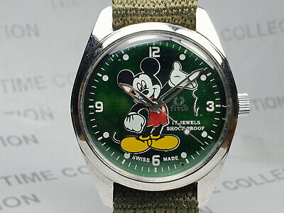 Vintage Titus Mickey Mouse Dial Handwinding Movement Mens Wrist Watch OG312 Z