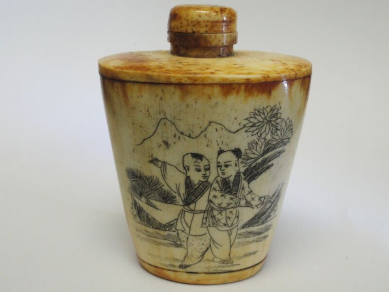 SUPERB 19 c. CARVED CHINESE ANTIQUE SNUFF BOTTLE 古董鼻烟壶