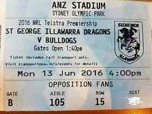 Dragons vs Bulldogs - 2 Adult Reserve Seating Tickets $20 each Sydney City Inner Sydney Preview