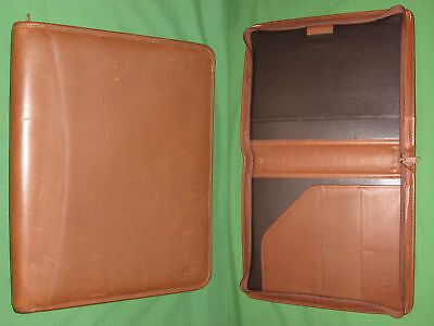 Zipper Note Pad 8.5x11 Caramel Brown Leather Levenger Planner Binder Monarch