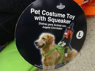 Halloween Pet Dog Costume Witch Toy with Squeaker on Saddle SIZE Large