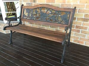 3 Seater Cast Iron and Timber Garden Bench Cotswold Hills Toowoomba City Preview