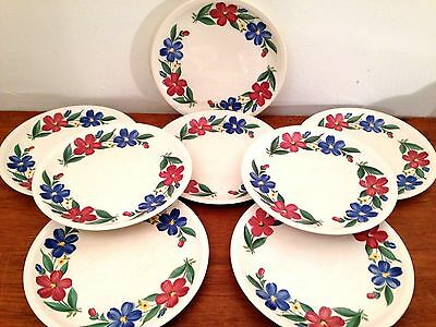 "Set of 8 Vtg SHENANDOAH Ware 10"" Dinner Plates COSMOS Paden City Pottery Dishes"