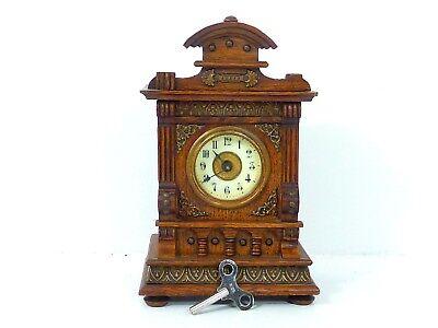 Sehr schöne Tischuhr, Kaminuhr Wecker mit Spielwerk um 1880 Gründerzeit Top