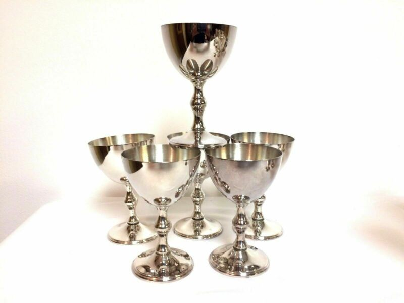 "Set of 6 Mint W & S Blackinton Silverplate Goblets 4.75"""