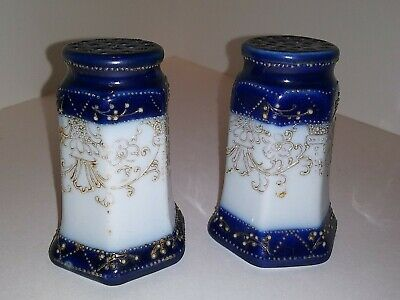 Blue /& Pink on Off-White Vintage Chinese Cloisonné Salt Cellar /& Pepper Shaker