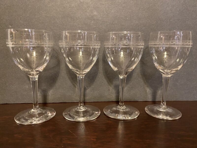 Set of 4 Vintage Etched Wine Cordial Liquor Glasses 4 1/2""