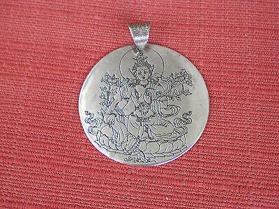 Round Flat Silver-Plated Tibetan Pendant Green Tara Double Dorje